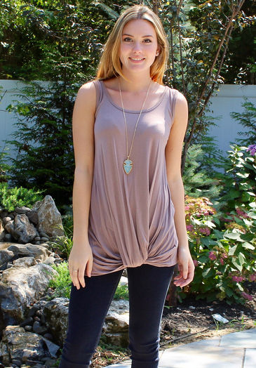 Mocha Knot-Front Sleeveless Knit Top